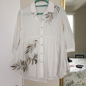 Anthropologie Holding Horses White Tunic